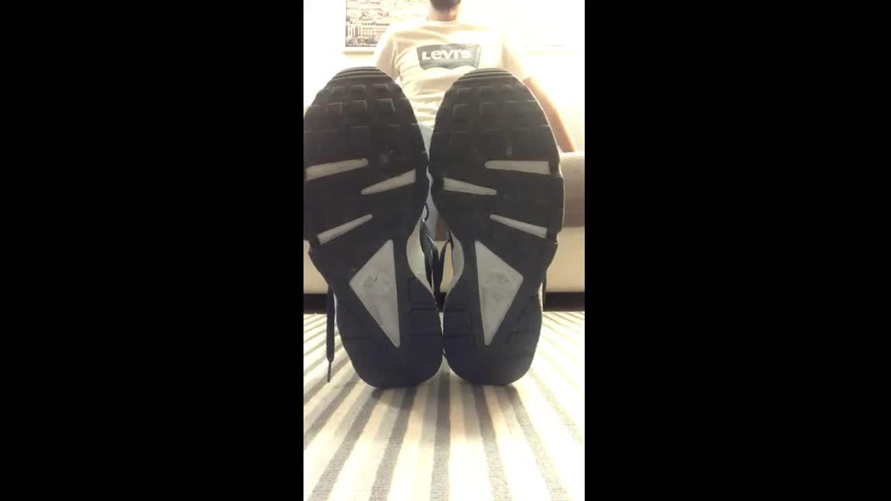 My sneakers, my socks, my feet.