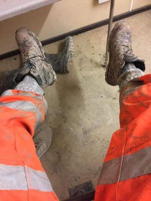 feet up after a hard days graft need cleaning faggots