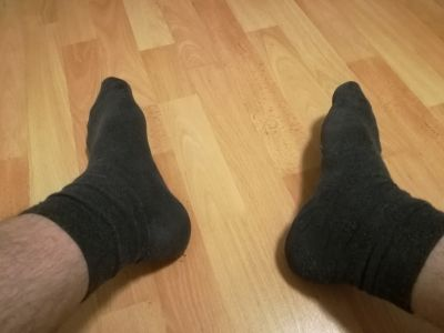 I'm tired. Just take my socks off and lick my feet for my pleasure.