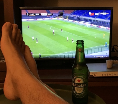 Football, cold beer and relax. Come here, faggot!