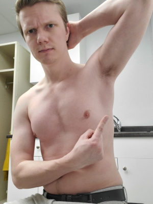 Put your tongue to work faggot! My Alpha body needs worship,  especially my ripe sweaty pits.