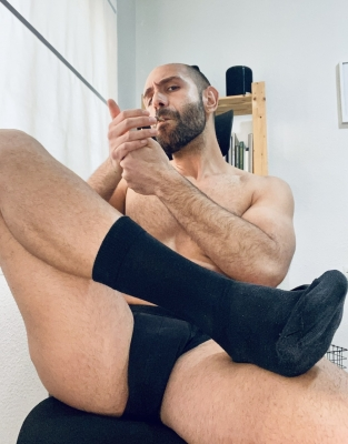 There's no greater freedom than the slavery of a devoted sub 🐷💸  #alphamale #findom #cashmaster #smoke #socks #feet