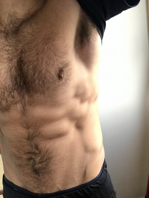 Lick my hairy, manly chest and armpits. Get your face buried deep, engulfed as you sniff. Thank me for the opportunity and the privilege of worshipping my body, piggy.