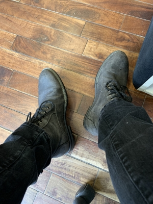 Feet are so hot in these boots at work. Can't wait to get them off. Who's going to rub Sirs feet at the end of a long day?