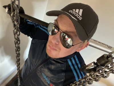 After my run I thought I would head up to the playroom to sort out the chains. Are you ready, fag?