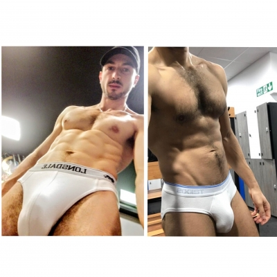 (Friendly) competition time! Cast your votes for who you think looks hotter in white briefs by sending FriendlyFindom or masterzal (or both) a white jockstrap from the OF gifts clothing section 💪🏼😈