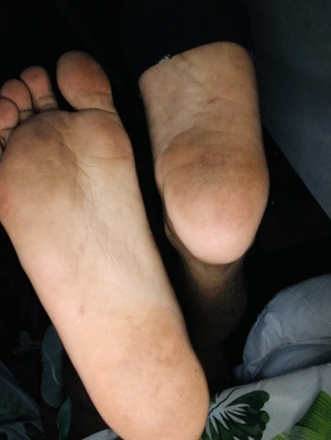 Fags — on your fucking knees, and go clean my soles with your tongue. Thank me with your tips right after.